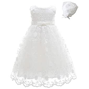 Meiqiduo Baby Girls Lace Christening Baptism Gowns Dresses with Bonnet - Ivory - 3M/0-6Months