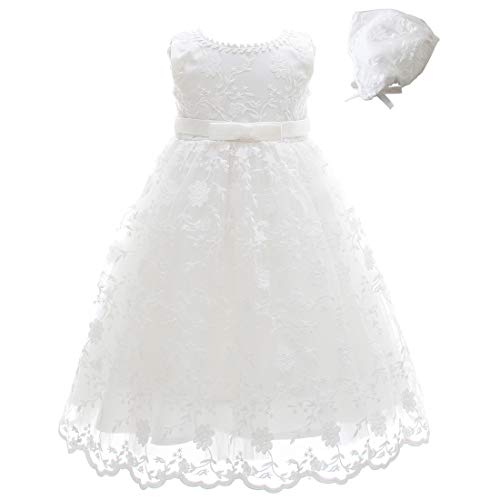 Meiqiduo Baby Girls Lace Christening Baptism Gowns Dresses with Bonnet (6M/6-12Months, Ivory)