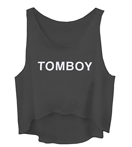 Tomboy Crop - GIGA Women Sleeveless Casual Tomboy Letters Print Cropped Vest Tank Tops