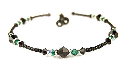 (DAMALI Emerald Anklets for Women, May Birthstone Jewelry, Handmade Beaded Swarovski Crystal Ankle Bracelets Ankle Bracelets)