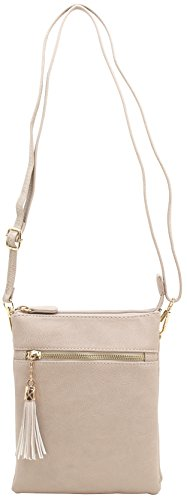 - Vegan faux soft leather functional multi compartments crossbody bag with wristlet strap and tassels