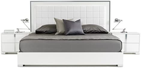 Limari Home Braden Collection Modern Style Italian Crafted Glossy Finished Platform Bed