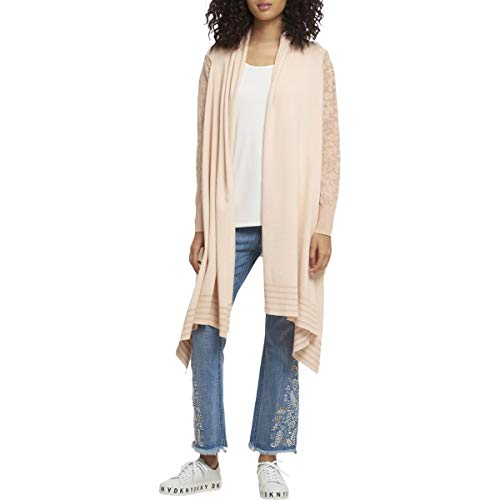 Cable Dkny - DKNY Womens Laser Cut Open Front Cardigan Sweater Pink M/L