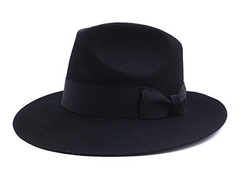 Fedora Wool-Felt Hat Classic Manhattan Mens Indiana Jones Hats Gangster Stain Unisex(Black)