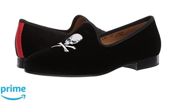 5058d37e42419 Amazon.com | Del Toro Black Velvet Slipper with Skull & Bone | Loafers &  Slip-Ons