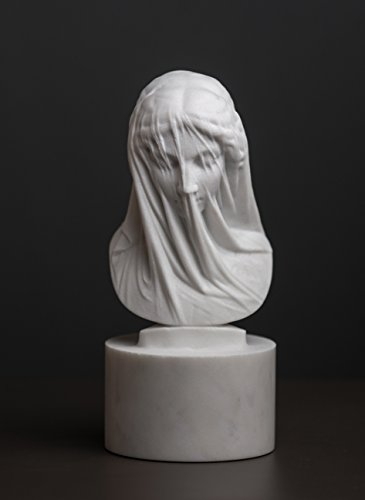 Marble Bust of The Veiled Virgin Mary by Strazza Carved Statue Artist -