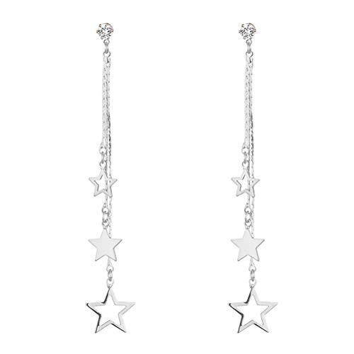 MYANAIL Lucky Star Pendant Tassel Dangle Earrings Fashion Long Shooting Star Drop Earrings Stud for Women Girls ()
