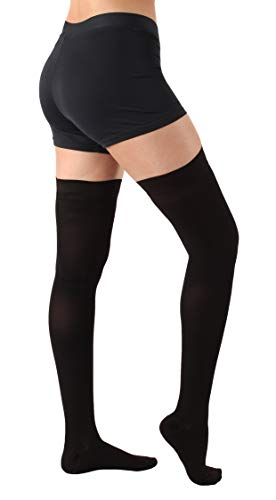 Absolute Support Thigh High Compression Stockings Silicone Border, Black – 5XL