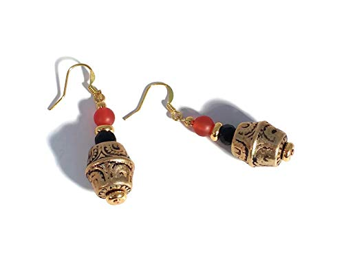 - Carnelian & Black Beaded Gold Plated Dangle Earrings, Orange, Barrel Beaded, Handmade, Unique