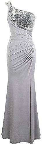 Paillette fashions Eine ärmellos Angel Maxi Grau Damen Schulter Abendkleid TA7wnXx