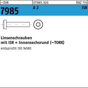 200 Edelstahl V2A Linsenkopfschrauben DIN 7985 A2 TX M6x60