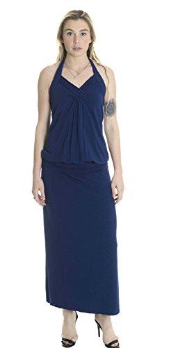 LINQ Women's Jersey Drop Waist Halter Maxi Dress In Blueberry, Small ()