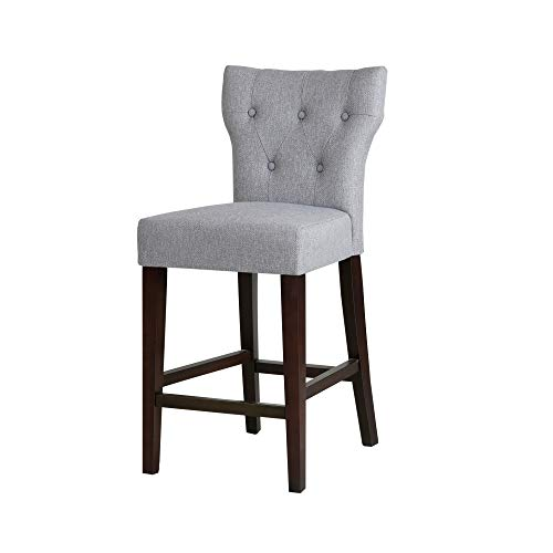 Madison Park Avila Bar Stools - Hardwood, Linen Kitchen Stool - Light Grey, Modern Classic Style Bar Height Stools - 1 Piece Button Tufted Bar Furniture For Home ()