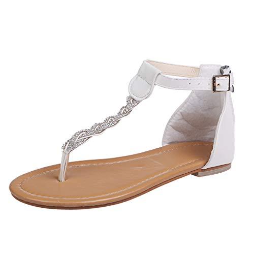 Women Rhinestone Thong Sandals, NDGDA Crystal Flat Flip Flops Beach Sandals Roman Shoes