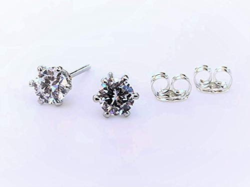 (Sterling Silver CZ Solitaire Stud Earrings - Jewelry Gift For Women)
