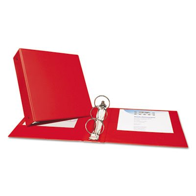 Economy Binder with Round Rings, 3'' Capacity, Red, Total 12 EA