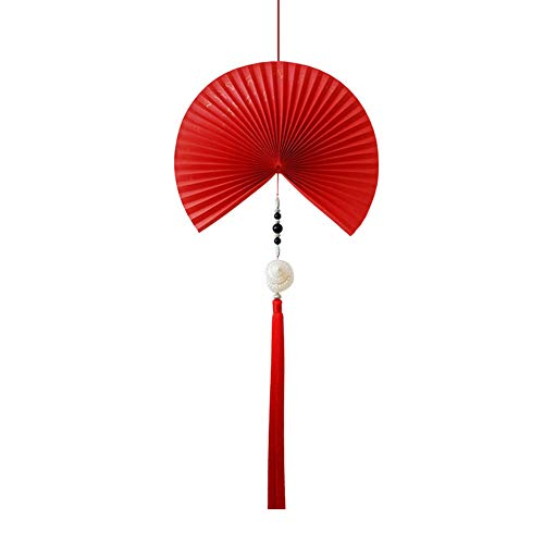 GWXLD Folding Fan - New Festival Chinese Red Decorative Wall Hanging Window Props Display Handmade Paper Fan Gift 50cm