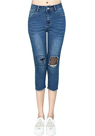 Pantalones De Jeans para Mujeres con Splice Grietas 7/8 ...