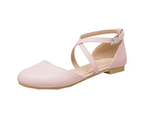 Solid WeiPoot Toe Closed Pink Buckle EGHLH006649 Heels Pu Women's Low Sandals wqHPxUYq