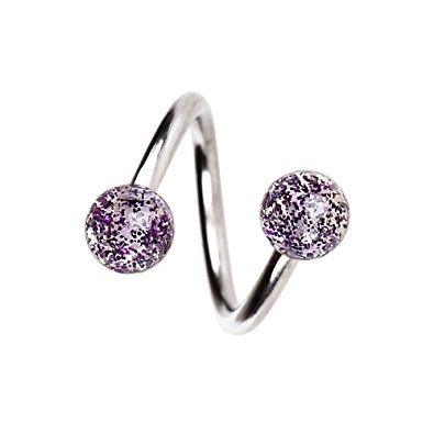 Inspiration Dezigns 14G Twist Horseshoe Ring with Super Purple Glitter Balls ()