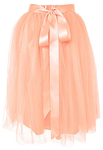 (Dancina Women's Knee Length Tutu A Line Layered Tulle Skirt Regular (Size 2-18) Ballet Pink)