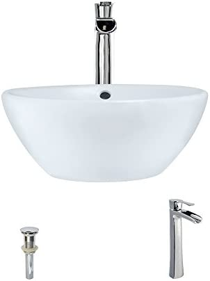 V2200-White Porcelain Vessel Sink Chrome Ensemble with 731 Vessel Faucet Bundle – 3 Items Sink, Faucet, and Pop Up Drain