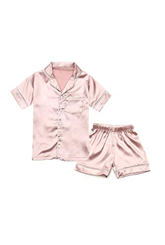 Little Girls Boys Short Stain Pajamas Set Classic Silk Pjs 2 Piece Loungewear Toddler Kids Button-Down Sleepwear Short Sleeve Rose Gold ()