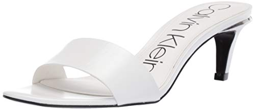 (Calvin Klein Women's Gallia Heeled Sandal White Kid Skin 6.5 M US)
