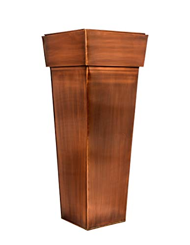 H Potter Tall Square Planter – Stainless Steel w/Antique Copper Finish, Indoor & Outdoor Garden Pot & Plant Box Holder for Succulent Flowers & More, 36.5