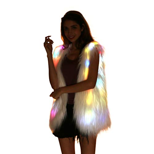 Women Faux Fur Outwear Winter Light Up Burning Glow Fluffy Sparking Rainbow LED Costume -