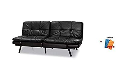 Mainstay Memory Foam Convertble Futon, Black Faux Leather + Freebie Shown in The Picture