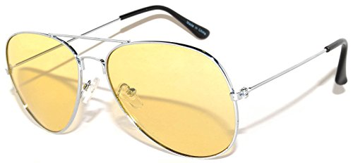Aviator Style Sunglasses Yellow Gradient Lens Metal Silver Frame UV (Gradient Yellow Lens)