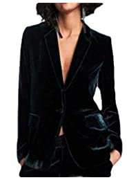 CRYYU Women Velvet Long Sleeve Slim Fit One-Button Blazer Jacket