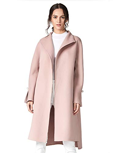 ANNA&CHRIS Women's Long Wool Trench Coat Winter Oversize Handmade Lapel Cardigan Overcoat Pink