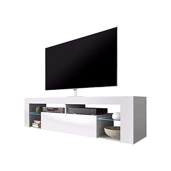 Selsey Bianko Meuble TV Bas Blanc Mat et Blanc Brillant avec éclairage LED 140 x 35 x 50,5 cm