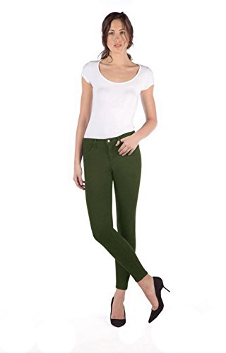 SECOND YOGA Womens Skinny Ankle Colored Jeans 270106E (28, Green Tea)