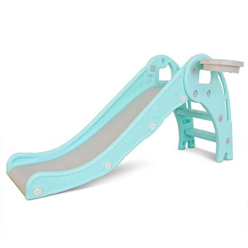 GXOK Freestanding Slides for Kids, Baby Slide Indoor/Outdoor Climber Toddler Slide with Basketball, Kids Slides for Backyard Easy Setup[Ship from USA Directly] (Green)