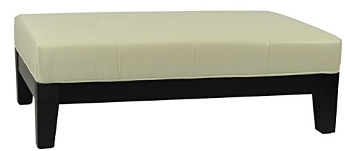 (Safavieh Hudson Collection Liam Leather Cocktail Ottoman, Off-White)