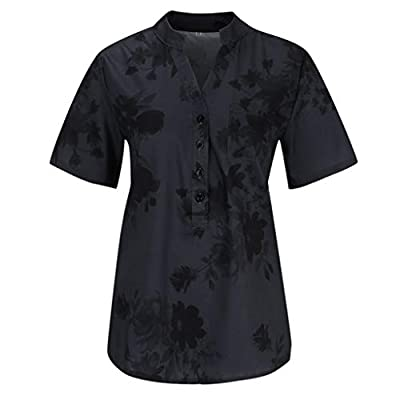 Meikosks Womens Plus Size Short Sleeve Blouses Floral Printing Pocket Tops Easy T Shirt: Clothing