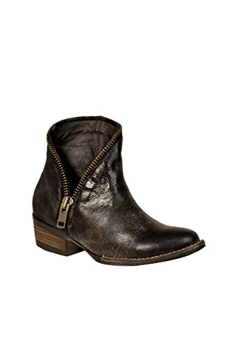 Corral Women's Black Zipper J Toe Low Heel Genuine Leather Boho Western Ankle Cowboy Boots - 10 (Black Patent Cowboy Boots)