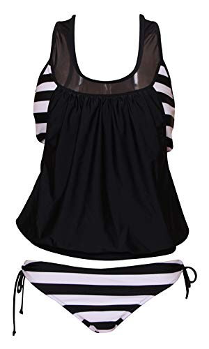 - PinUp Angel Black Two Piece Stripe Tankini Swimsuit with Panty Sporty Double Up Bathing Suit