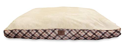 American Kennel Club AKC9261TAN Plaid Bed Pet Gusset Bed, Ta