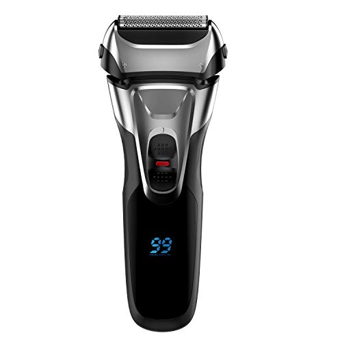 Electric Shaver with Pop-up Trimmer for Men, Men s Electric Razor Cordless Foil Shaver, IPX7 Waterproof, Charge 1.5H Work 99 Mins, Plug and Play, USB Quick Charging, LCD Display Battery Power