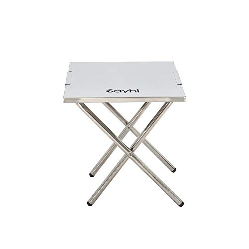Cloudro Folding Table,Foldable Desk Stainless Steel Table for Outdoor Picnic Party Dining Camp,20 by 14 Inches by Cloudro (Image #1)