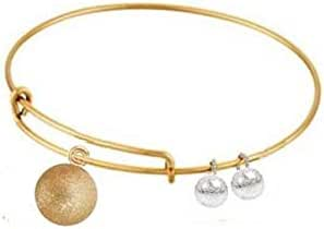 Gold Plated Golden and Silver Beads Bangle Bracelet for Women