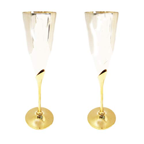 IMA Brass Champagne Flutes - Set of 2 pieces in two Toned - Gold and Silver Finish