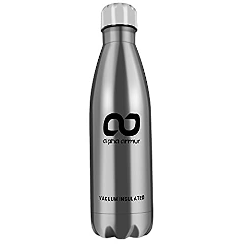 Alpha Armur 16 Oz (500ml) Insulated Water Bottle Double Wall Vacuum Insulated Stainless Steel Flask Water Bottle with Narrow Mouth, Silver