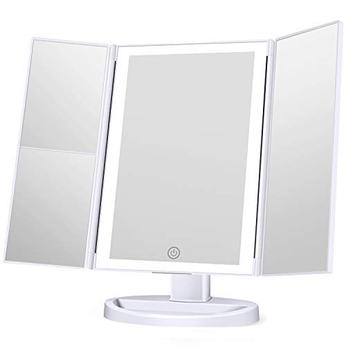 KOOLORBS Makeup Mirror with Lights, 3 Color Lighting, Lighted Makeup Mirror, 1x 2X 3X Magnification, Vanity Mirror with 72LEDs, Touch Control, Dual Power Supply, Portable Cosmetic Mirror, Female Gift