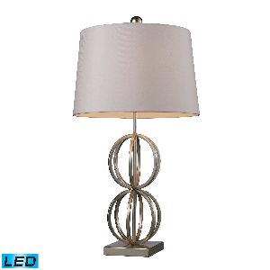 Elk Lighting D1494-LED Donora LED Table Lamp in Silver Leaf with Milano Off White Shade