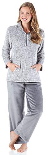 Sleepyheads Women's Sleepwear 1/4 Zip Fleece 2-Piece Loungewear Pullover Pajama PJ Set with Pockets Light Grey - 2 Piece Sweatpants Thermal